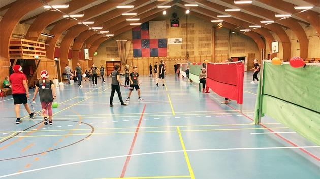 Farvede duge på badmintonnet i badmintonhal