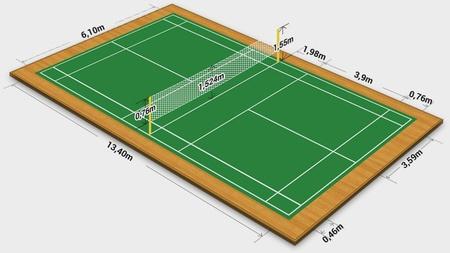 Illustration af badmintonbane med dimensioner
