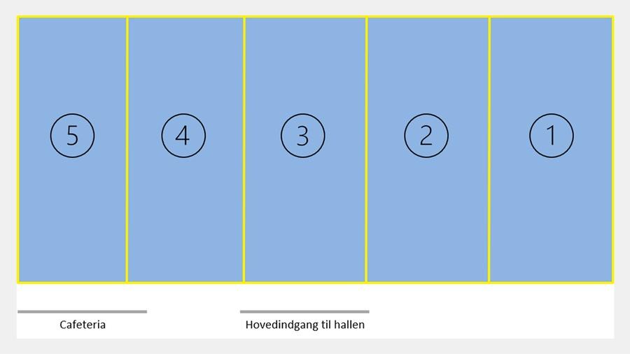 Illustration af badmintonbaner i Melbyhallen